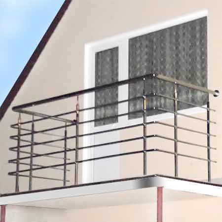 Ограждения балкона из нержавейки прямые